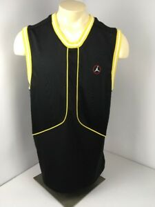 VTG 90s 1996 AIR JORDAN - BLACK/Yellow SLEEVELESS JERSEY Shirt SIZE L Baskeball