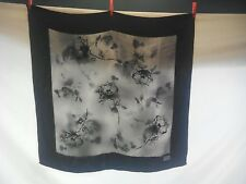 Luciano Soprani Ladies Rare Vintage Scarf in an Embossed Black and Silver Print