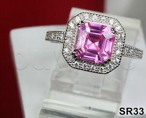2.24Ct Asscher Cut Pink Sapphire Sterling Silver Engagement Ring Wedding Bridal