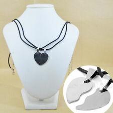 Collana ciondolo acciaio cuore spezzato incisione personalizzata colore argento