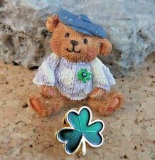 Green Enamel Clover Pin Tack Lot #434 Vintage St Patrick's Day Irish Bear &