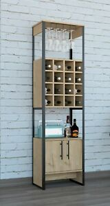 Industrial Storage Display Cabinet Unit with Wine Rack Glass Holder Cupboard