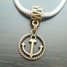 Bronze Ship Anchor Nautical Slider Dangle Bead Fit European Style Charm Bracelet