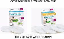 HAGEN CAT IT SENSES WATER SOFTENING 2 LTR FOUNTAIN FILTER 2 OR 5 PACK 43745/46