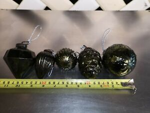 LARGE THICK Mercury Glass GREEN Bauble Xmas Tree Decoration Vintage Rustic