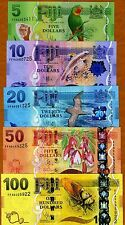 SET, FIJI, 5;10;20;50;100 dollars, 2012 (2013), P-New,  UNC > New Design