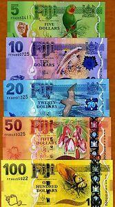 SET, FIJI, 5;10;20;50;100 dollars, 2012 (2013), P-New,  UNC > New Design