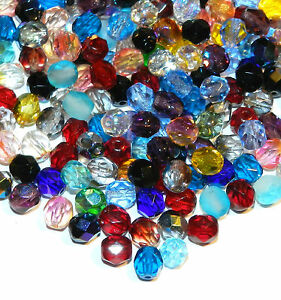 CZX31 Assorted Color 6mm Fire-Polished Faceted Round Czech Glass Beads 100pc