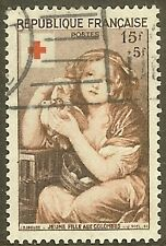 "FRANCE TIMBRE STAMP N°1007 ""CROIX ROUGE FILLE AUX COLOMBES"" OBLITERE TB"