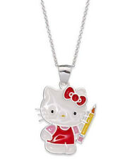 Hello Kitty Sterling Silver Pencil School Girl Pendant Necklace $135  Gift Box!