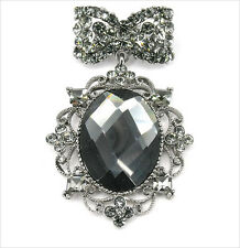 "Jewelry Black Crystal Dangle 2.2"" Grace Vintage Design Queen Pin Brooch Costume"