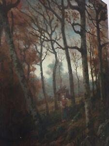 Louis Hestaux, école de Nancy, La ramasseuse de fagots huile sur toile 1891