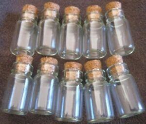 BULK 5 Minature Glass Wishing Bottles / Vials with Cork Lids NEW 2 cm tall