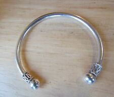 LOVELY SOLID SILVER TORQUE OPEN BANGLE BRACELET 925 STERLING CUFF