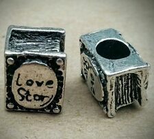 2PC Lot Antique Silver Love Story 3D Book European Bead Charms - Gift for Her