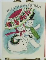 Rust Craft Anthropomorphic Snowman Couple Christmas French Fold Used Card