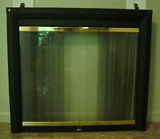 Fireplace surround doors & screens unit, black & brass-tone, spark screen