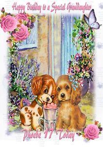 Personalised birthday card cute puppies mum sister daughter granddaughter friend
