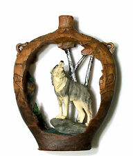 """Wolf cutout in vase look figurine made of polystone 7"""" high x 5"""" wide"""