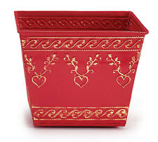 Red Tin Planter Square with Raised Gold Heart Design on Top and Bottom Set of 2