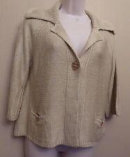 Per Una Medium UK12-14 EU40-42 US8-10 stone collared 3/4 sleeve cardigan