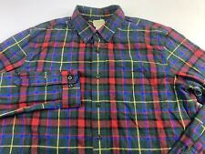 LL Bean Long Sleeve Men's Slightly Fitted Plaid Flannel Shirt Size XL Tall