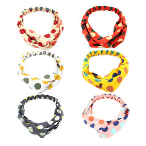 Soft Wave Point Women Headband Sweet Style Top Cross Knot Elastic Hair Bands