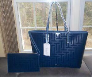 Ted Baker London Eleenor T Logo Shopper Tote Bag & Zip Pouch Blue Bag NWT