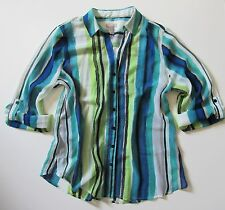 NWT Chico's Outlet Lovely Stripe in Admiral Blue Sheer Button Down Shirt 2 M 12