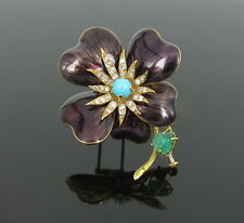 Kern 0.60ct Diamond Emerald & Turquoise Enamel 18K Yellow Gold Clover Brooch