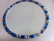 BLUE HOWLITE STAINLESS STEEL NECKLACE   18""