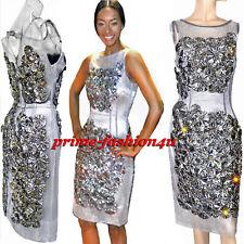 Dolce & Gabbana Crystal Adorned Handmade Silk Floral Appliques Silver Mesh Dress