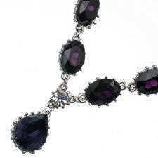 19.25 Ct Pear & Oval Cut Shape Purple Amethyst 18K White Gold Plated Necklace