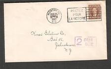 Canada WWII no censor cover Montreal to USA/postage due/Pretez Pour La Victoire