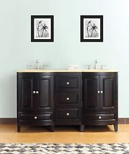 60-in Double Sink Bathroom Vanity Solid Wood Cabinet Double Ogee Travertine 8365