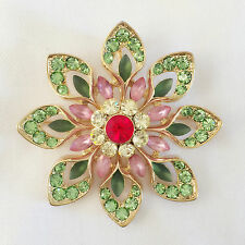 New Flower Grn Pink Party Gift Round Crystals Pendant Charm Brooch Pin BR1285