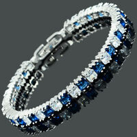 Brass Blue Sapphire CZ Square Cut 18K White Gold Plated Tennis Bracelet