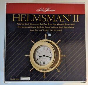 Seth Thomas Helmsman II #1038 Brass Ships Bell Wheel Clock in Box Germany