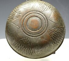 Authentic Middle Eastern Antique Rare Bronze Dish, Incised, Jordan 17-19 Century