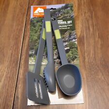 New listing Camping Hiking Cooking Bundle Portable 4 Piece Utensil Set Spatula Tongs Spoons