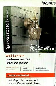 Portfolio Motion Activated Outdoor Wall Lantern 11.75 Inch Tall Brushed Nickel