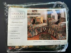 """Vintage Croscill Furniture Cover For Sofa 90"""" x 140"""" Floral New Old Stock"""