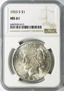 1923-S $1 Peace Dollar NGC MS61