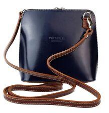 Womens Small Genuine Leather Rigid Cross Body Shoulder Bag Real Italian Designer