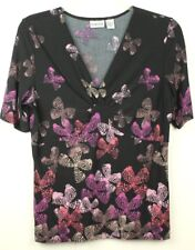 Chicos Womens Size 2 Black Blouse with Pink Butterflies Short Sleeve Blouse