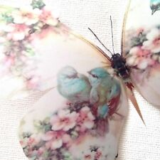 4 Shabby Chic Pink Rose Blue Birds 3D Butterflies Butterfly Decals Decorations