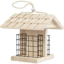 Mini Pine Wooden Bird House Feeder Table With Lattice 11.6x13.5x17.5 cm Hanging