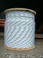 """Sailboat Rigging Rope 3/8"""" x 26' White/Blue Double Braided Sheet Halyard Line"""
