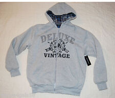 MENS Long Sleeve Reversible Insulated Gray Hoodie Sweat Jacket GRAPHIC M 38-40