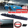 Universal Carbon Fiber Look Rear Shark Curved Addon Bumper Lip Diffuser Fin